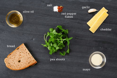 Grilled Cheese with Pea Shoots