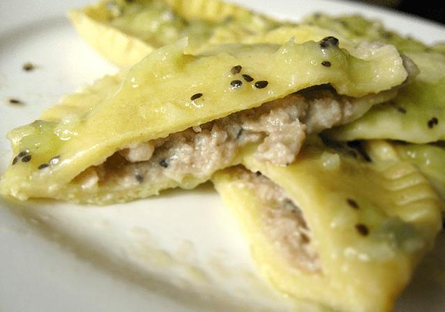 Kiwi Infused Pork Ravioli