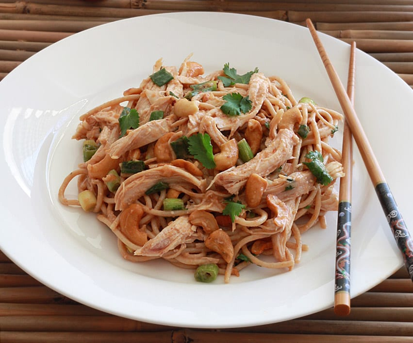 Sichuan Chicken and Cashew Noodle Salad