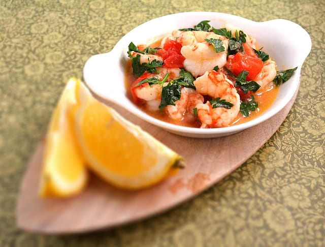 Lemony and Garlicky Shrimp with Cherry Tomatoes and Fresh Herbs