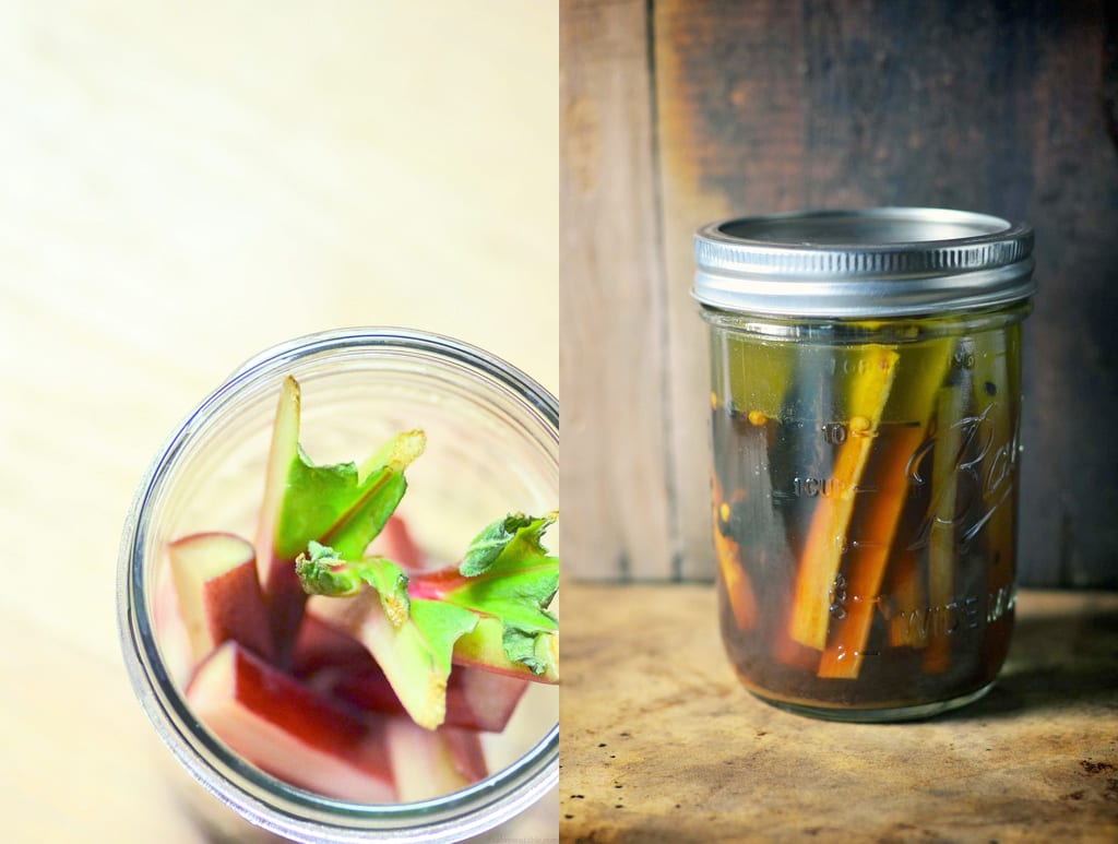 Indian-style Sweet and Sour Pickled Rhubarb