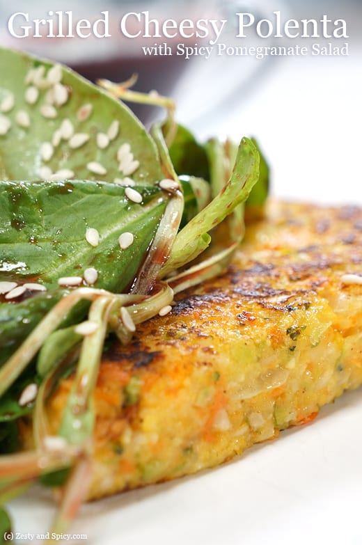 Grilled Cheezy Polenta with Spicy Pomegranate Salad