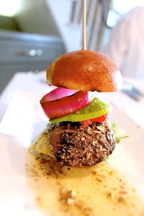 Foie Gras Burger with Pistachios by Chef Mathias Brogie