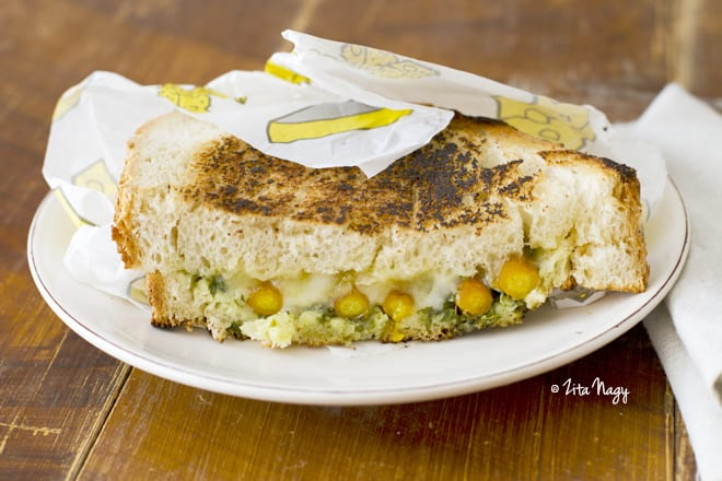 Grilled Carrot and Carrot Green Pesto Sandwich