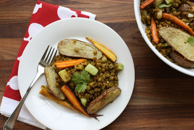 Chayotes, Roasted Veggies and Lentil Curry Salad
