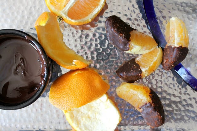 Chocolate Dipped Orange Segments with Chili-Salt