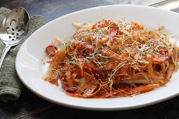 Shaved Carrot Salad with Ginger, Maple, and Sesame