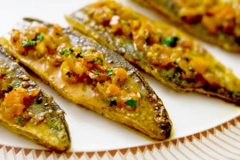 Masala mackerel with cumin spiced mushy peas recipe by for How to cook mackerel fish