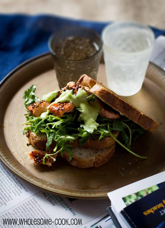 "Salmon Salad Sandwich with Avocado ""Mayo"""
