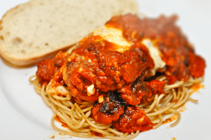 Chicken and Eggplant Spaghetti