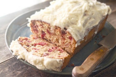 Cranberry Honey Cake with Lavender Frosting
