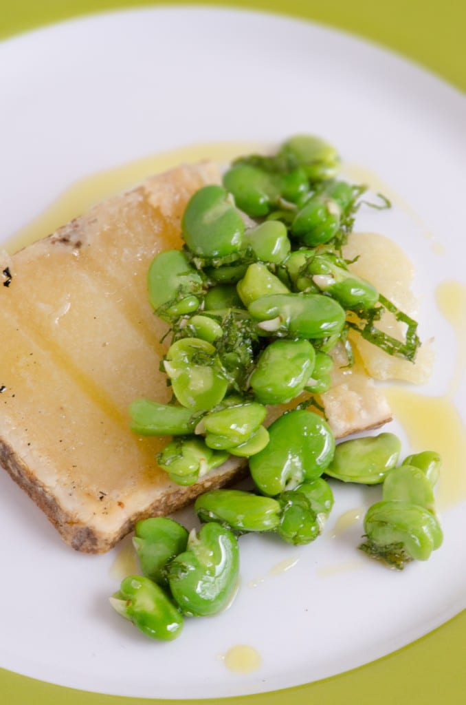 Grilled Pecorino with Fava Bean Salad