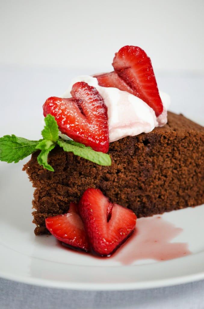 Red Wine Chocolate Cake with Strawberries