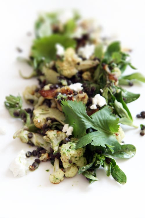 Roasted Cauliflower and Beluga Lentil Salad