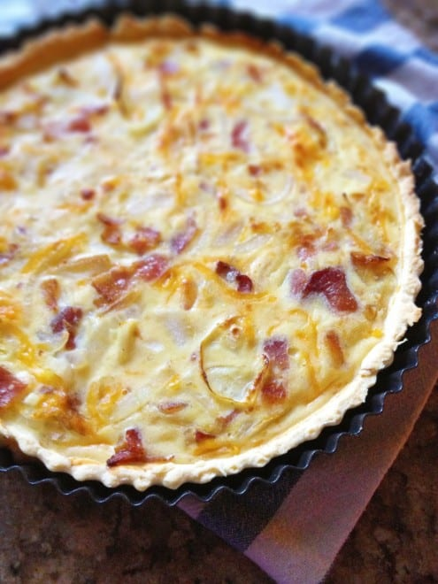 Bacon and Cheddar Tart with Caramelized Onion – Honest Cooking
