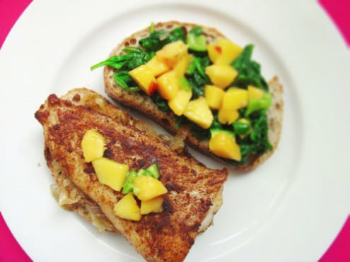 Fish, Nectarine and Spinach Sandwich