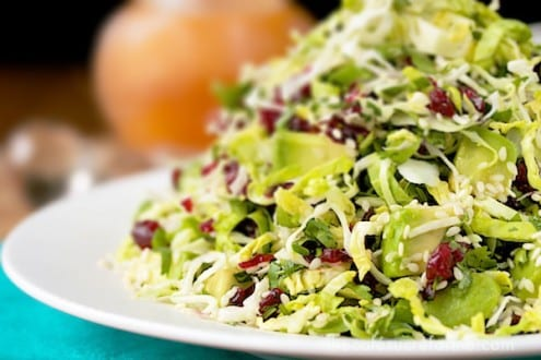 Avocado and Shaved Brussels Sprout Salad with Honey-Ginger Vinaigrette