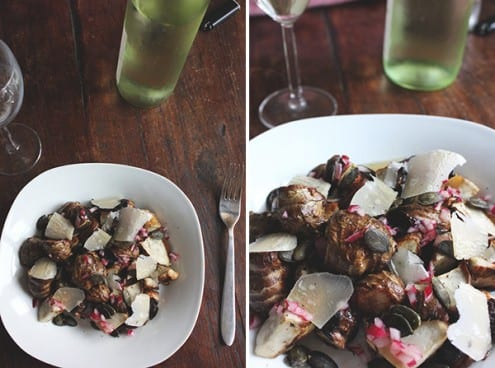 Roasted Sunchokes with Pumpkin Seeds, Pickled Red Onion and Shaved Parmesan