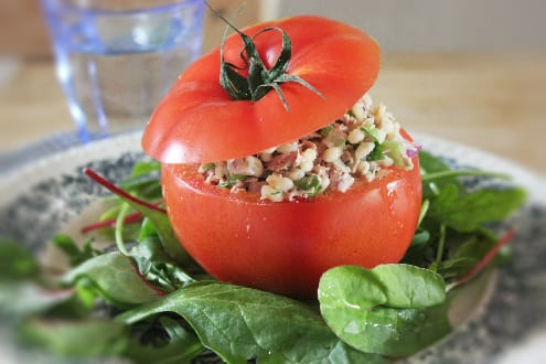 Barley and Tuna Stuffed Tomatoes