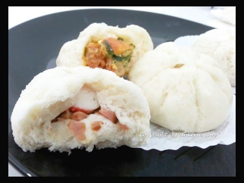 Steamed Bao Buns with Otak-otak and Luncheon Meat Crabstick Filling