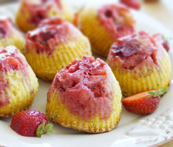 Strawberry Lime Upside-down Muffins with Lavender Sugar
