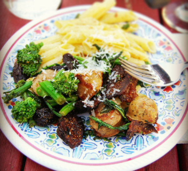 Broccoli Raab with Sausage, Black Mission Figs and Gluten-Free Penne