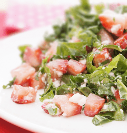 Strawberries, Kale and Feta Salad