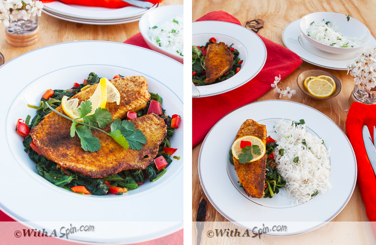Seared Spicy Fish with Sauteed Spinach