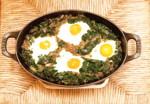 Baked Eggs on Wilted Spinach Recipe by Sara Clevering