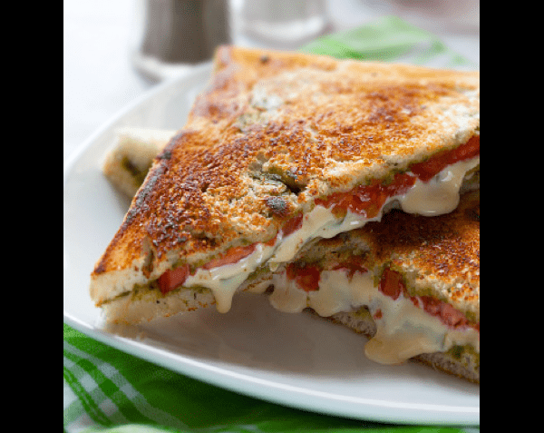Grilled Vegetable Cheese Sandwich with Spinach Avocado Spread