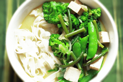 Garlic Scape Coconut Curry Soup with Summer Vegetables and Tofu