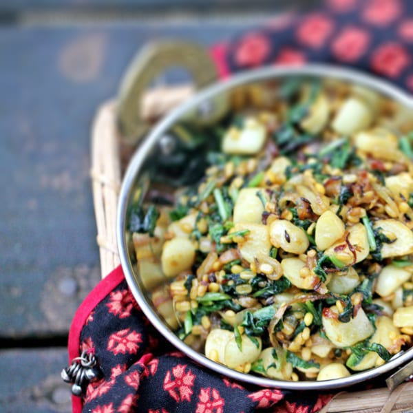 Turnips with Carmelized Onions and Toasted Lentils