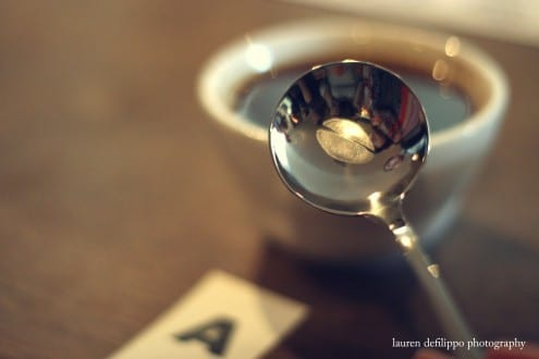 """Like a wine connoisseurs """"tastevin"""", these coffee bean-engraved silver spoons are the slurping equivalent for coffee cuppings at Toby's Estate."""