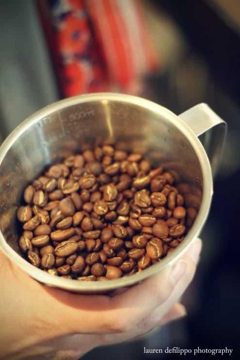 Freshly roasted beans.
