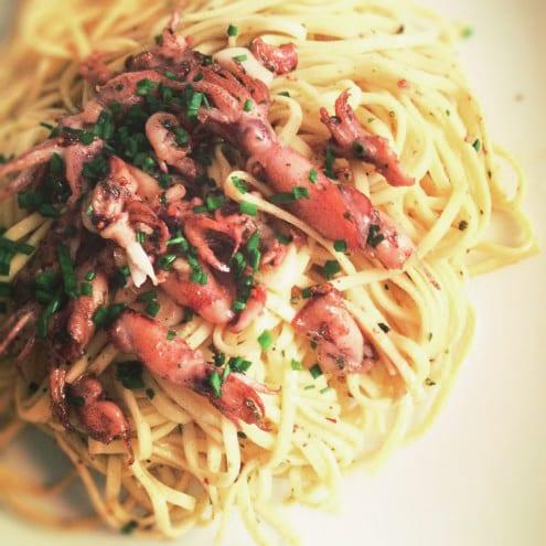 Taglierini con Calamaretti - Pasta with Tiny Calamari