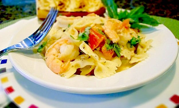 Roasted Tomato and Garlic Shrimp Pasta with Goat Cheese