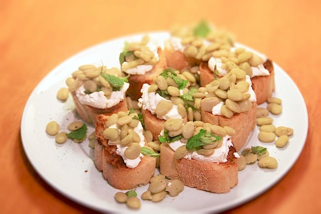 Bean, Mint and Ricotta Crostino