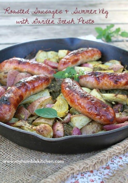 Sausage Skillet Recipe with Pesto
