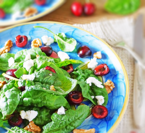Spinach Salad with Cherries, Goat Cheese and Walnuts