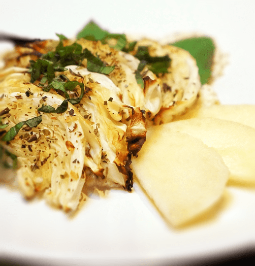 Grilled Cabbage, Apple and Tofu Salad