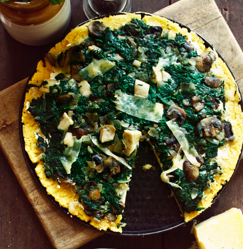 Polenta Pizza with Spinach, Mushrooms and Ricotta – Honest Cooking