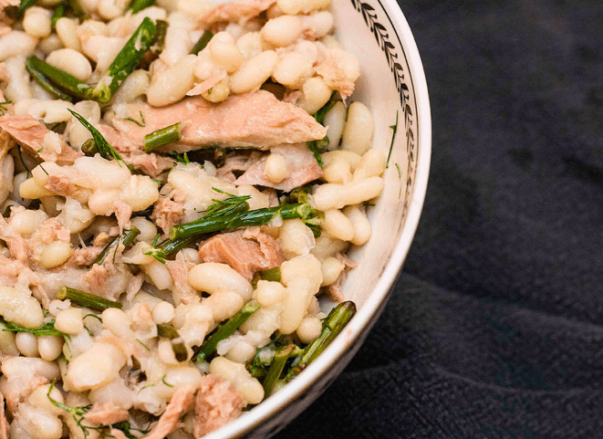 Tuna and Flageolet Bean Salad with Garlic Scapes