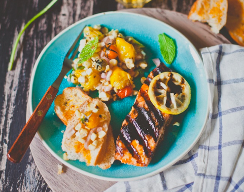 Grilled Salmon with Corn and Heirloom Tomato Salad