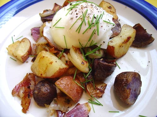 Two Potato Hash with Poached Eggs