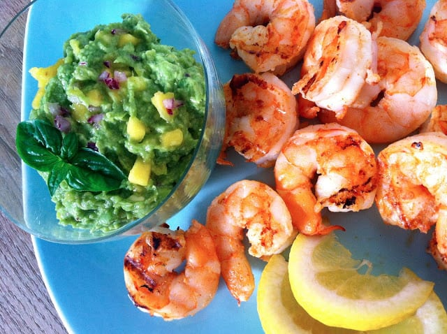 Spicy Grilled Shrimp Cocktail with Avocado and Mango Dip
