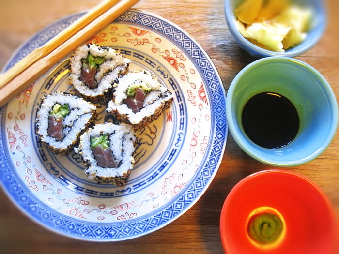 Maki and Uramaki Sushi Rolls