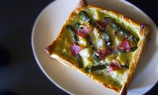 Raclette Asparagus Bacon Tart
