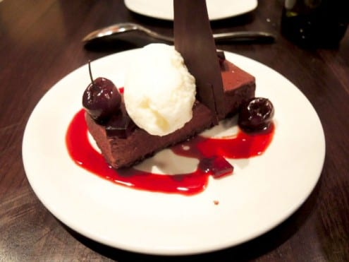 Chocolate Mousse Cake with Mastic Ice Cream
