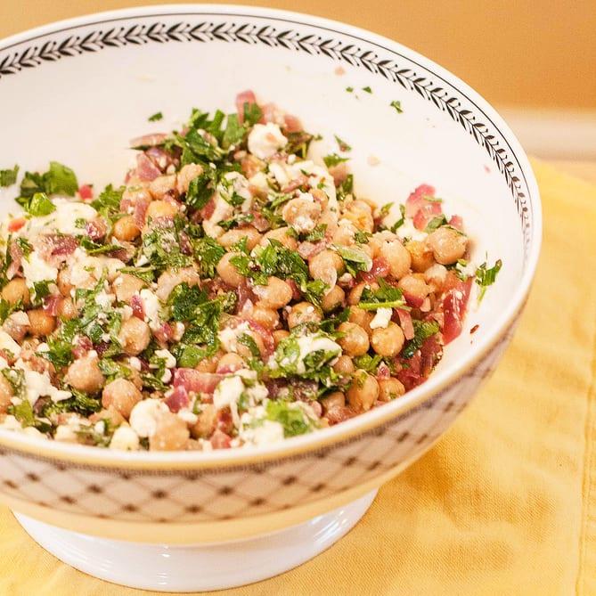 Chickpea Salad with Feta and Cilantro