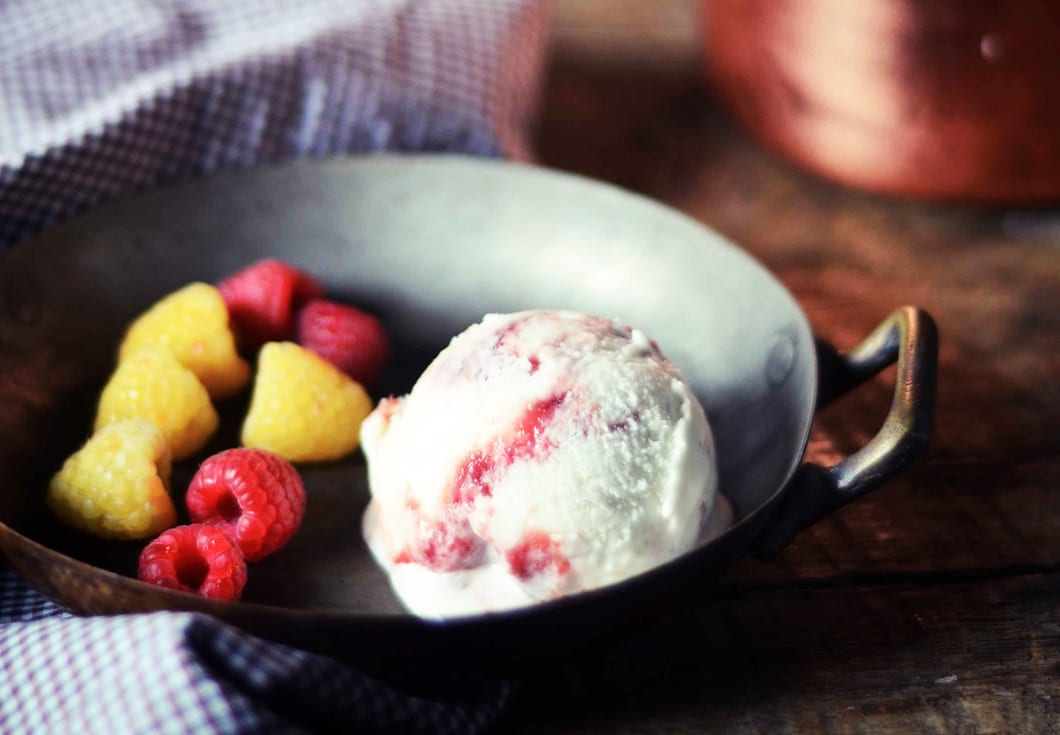 Spiced Ice Cream with Raspberry Sauce Swirl